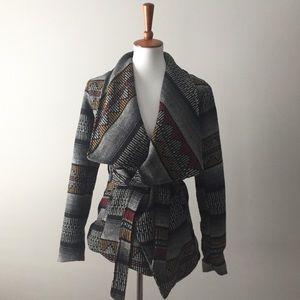 Me Jane Striped Aztec Print Wool Blend Coat